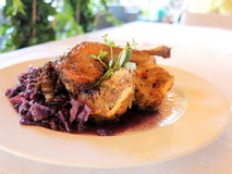 Roast duck. With red cabbage Stock Photography