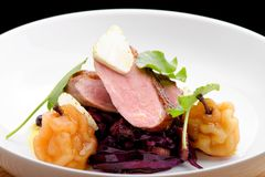 Roast duck, red cabbage and dry fruits Stock Photo