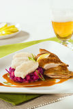 Roast Duck, Red Cabbage and Dumplings Royalty Free Stock Image