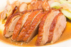Roast duck with sauces royalty free stock photography