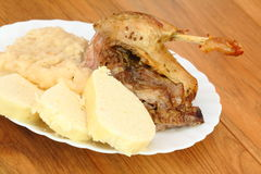 Roast duck, sauerkraut, dumplings Royalty Free Stock Image