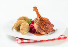 Roast duck with Tyrolean dumplings and red cabbage Royalty Free Stock Image