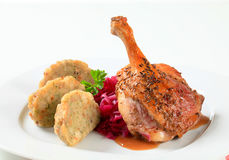 Roast duck with Tyrolean dumplings and red cabbage Stock Photo