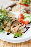 Roast Fillet Lemon Sole With Onion And Vegetables Stock Images