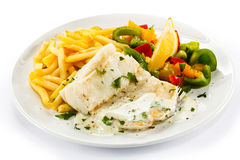 Roast fish fillet Stock Images