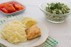 Roast fish steak fresh with mashed potatoes Stock Photo