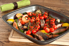 Roast fish on the tray Stock Images