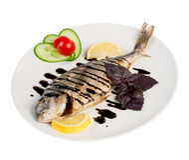 Roast fish on the white Royalty Free Stock Photos