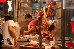 Roast Food in Cantonese Style. Roast meat shop in Hong Kong Stock Image