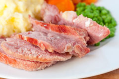 Roast Gammon. A close-up of roast gammon slices on a white plate Royalty Free Stock Photo