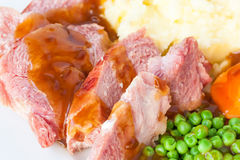 Roast Gammon and Gravy. A close-up of roast gammon dlices covered in warm gravy on a white plate Royalty Free Stock Photography