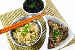 Roast garlic fried rice and seaweed soup. Stock Images