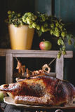 Roast goose with apples Stock Image