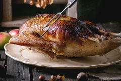 Roast goose with apples Royalty Free Stock Photos