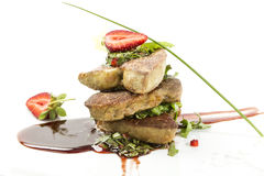 Roast goose liver Stock Photography
