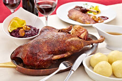 Roast goose in a pan Royalty Free Stock Photos