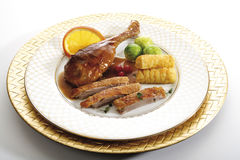 Roast goose with side dishes Stock Photo
