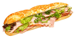 Roast Ham Baguette Sandwich Royalty Free Stock Photos