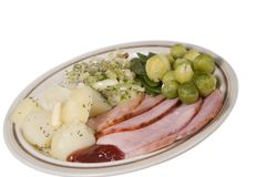 Roast Ham meal on a plate isol Stock Photo