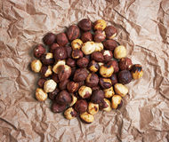 Roast hazelnuts on paper Royalty Free Stock Image
