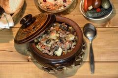 Roast `Kirsani` with mushrooms and beans Stock Photos