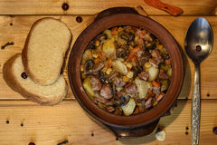 Roast `Kirsani` with mushrooms and beans Royalty Free Stock Images