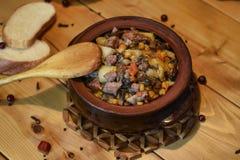 Roast `Kirsani` with mushrooms and beans Royalty Free Stock Photo