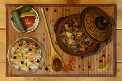 Roast `Kirsani` with mushrooms and beans Royalty Free Stock Photography