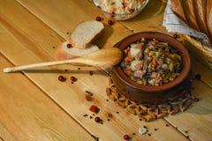 Roast `Kirsani` with mushrooms and beans Stock Image