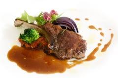 Roast lamb chops with gravy Stock Photo