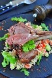 Roast Lamb with couscous salad and mint Stock Photos