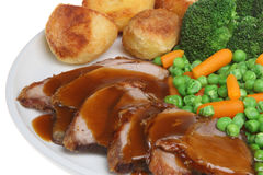 Roast Lamb Dinner with Gravy Royalty Free Stock Photos