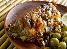 Roast lamb with laver sauce Stock Image