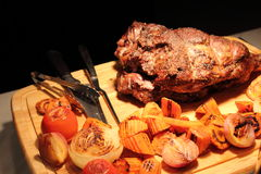 Roast lamb leg Stock Photography