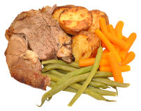 Roast Lamb Meal Stock Photo