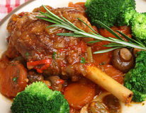 Roast Lamb Shank Dinner Royalty Free Stock Photo