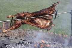 Roast Lamb on Spit Stock Photo