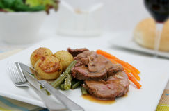 Roast Lamb and Vegetables Royalty Free Stock Photos