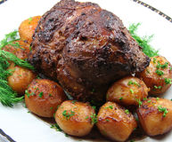 Roast Leg of Lamb Stock Photo