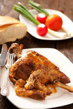 Roast Leg of Lamb. On a plate Stock Images