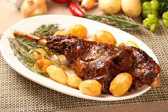 Roast leg of lamb royalty free stock images
