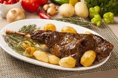 Roast leg of lamb. Meal dish stock photo