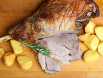 Roast Leg of Lamb Meat with Potatoes Royalty Free Stock Image