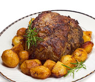 Roast leg of lamb Royalty Free Stock Photos