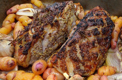 Roast Leg of Lamb with Rosemary Royalty Free Stock Images
