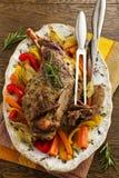 Roast leg of lamb with rosemary and garlic Royalty Free Stock Photo