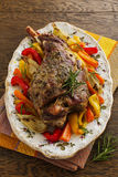 Roast leg of lamb with rosemary and garlic Royalty Free Stock Image