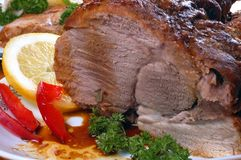 Roast-meat. Sliced roast meat from oven Royalty Free Stock Photos