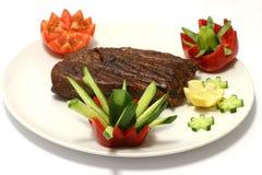 Roast meat on dish Stock Photo