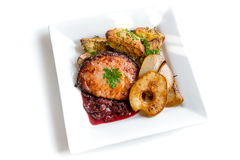 Roast meat with plum chutney Stock Photography